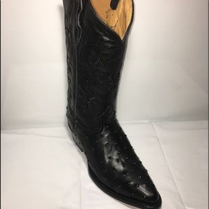 Men's Cowboy Boots Ostrich Print Leather Black